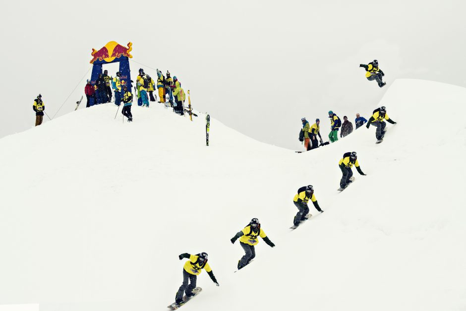 Competitor performs during the Red Bull Oslea Hiride in Campul lui Neag, Romania on February 28th, 2015.