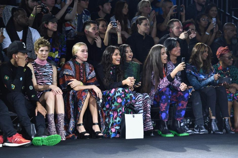 NEW YORK, NY - OCTOBER 19: Chance the Rapper, Halsey, Chloe Sevigny, Rosario Dawson, Suboi, Xiuhtezcatl Martinez, Stephen Gan, and Iman attend KENZO x H&M Launch Event Directed By Jean-Paul Goude' at Pier 36 on October 19, 2016 in New York City. (Photo by Dimitrios Kambouris/Getty Images for H&M)