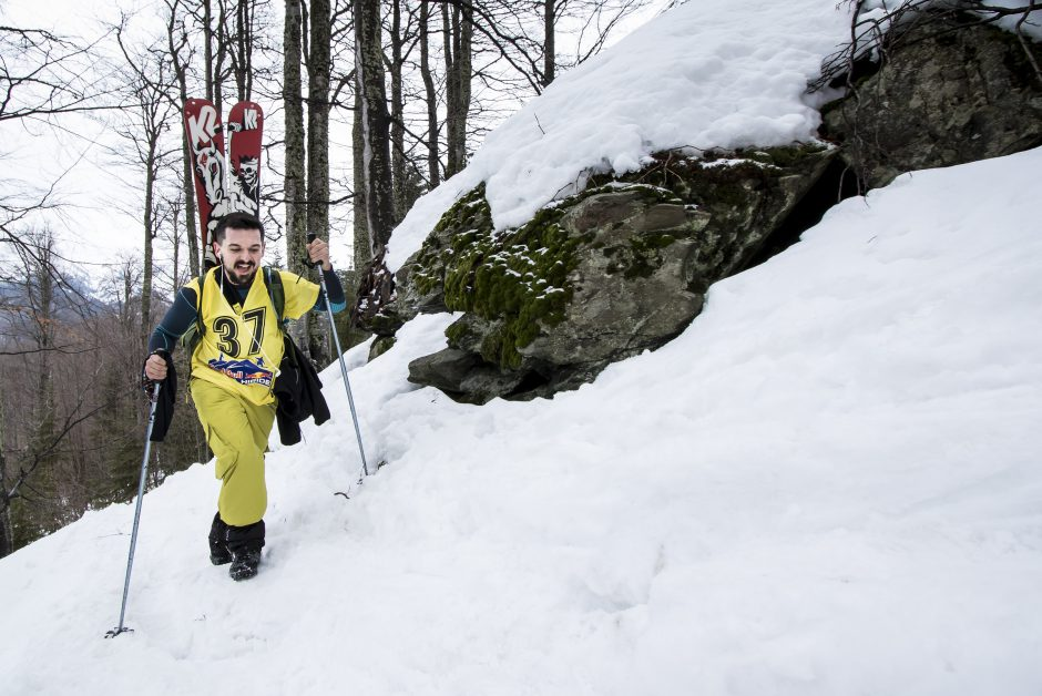 Participant hiking during the Red Bull Oslea Hiride in Uricani, Romania on February 28th, 2015