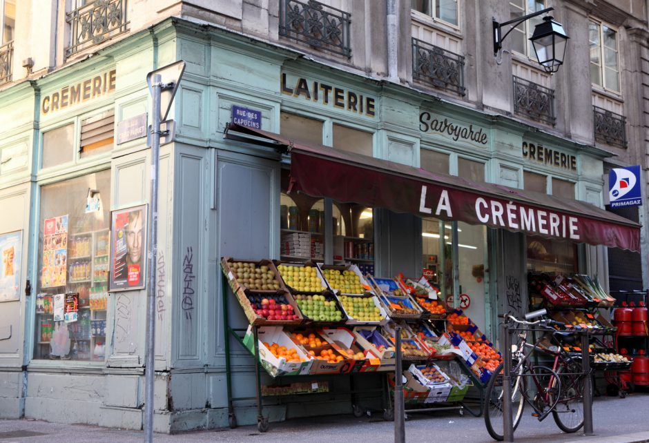"""Lyon, France - October 29, 2012: Located Capucins street in Lyon, the Laiterie Savoyarde is a traditional french grocery."""
