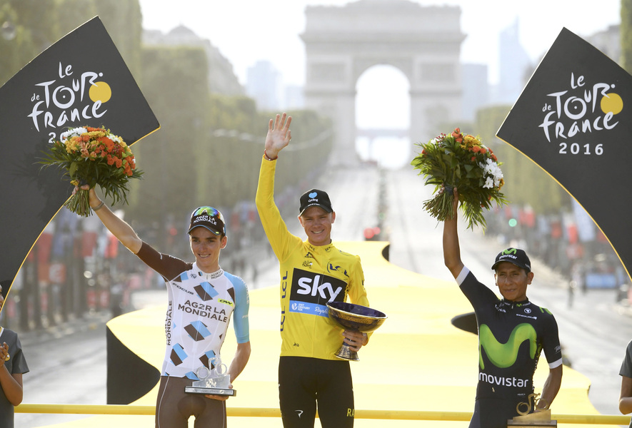 Romain Bardet (France), Christopher Froome (Grande-Bretagne), Alexander Nairo (Colombie)
